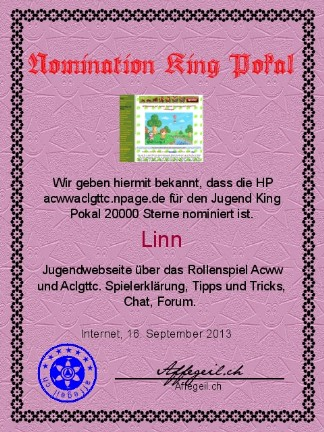 King Award Nominationsurkunde Jugend