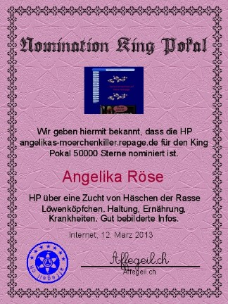 King Award Nominationsurkunde Angelikas Mörchenkiller