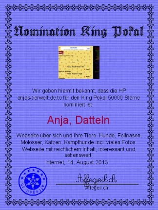 King Award Nominationsurkunde Anjas Tierwelt