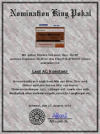 King Award Nominationsurkunde Antenne Hannover