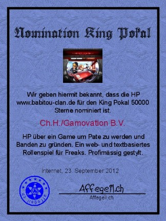 King Award Nominationsurkunde Babitou-Clan.de