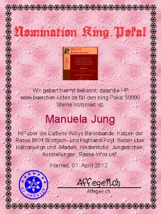 King Award Nominationsurkunde Baerchen-Kitten
