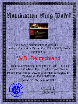 King Award Nominationsurkunde Beatz you4