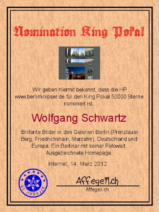 King Award Nominationsurkunde Berlinknipser