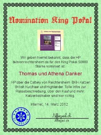King Award Nominationsurkunde BKH von Reichertsheim