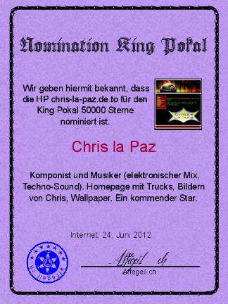 King Award Nominationsurkunde Chris la Paz