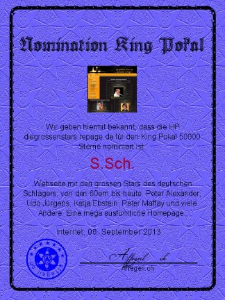 King Award Nominationsurkunde Die grossen Stars