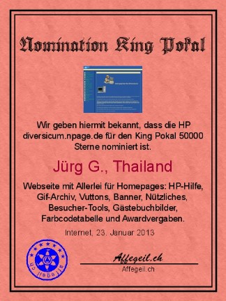 King Award Nominationsurkunde Diversicum