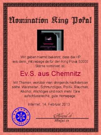 King Award Nominationsurkunde Evs denk mit