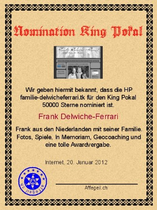 King Award Nominationsurkunde Familie-Delwicheferrari