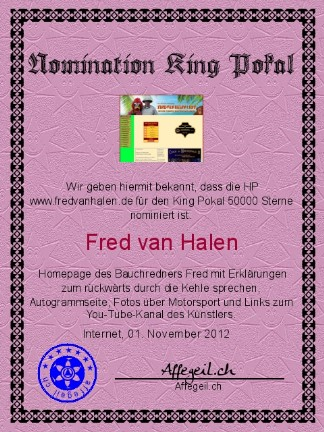 King Award Nominationsurkunde Fred van Halen
