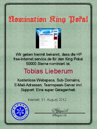 King Award Nominationsurkunde Free Internet Serrvice