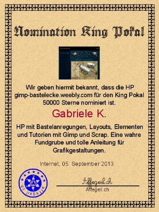 King Award Nominationsurkunde Gimp Bastelecke
