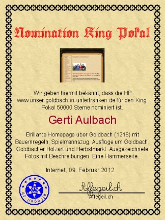 King Award Nominationsurkunde Unser-Goldbach-in-Unterfranken