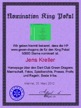 King Award Nominationsurkunde Green-Dragons