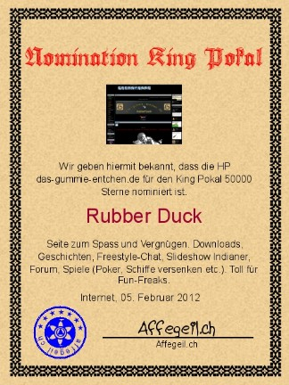 King Award Nominationsurkunde Das-Gummie-Entchen