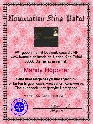 King Award Nominationsurkunde Hotnails Delitzsch