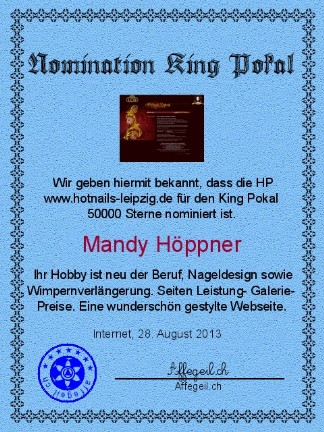 King Award Nominationsurkunde Hotnails Leipzig