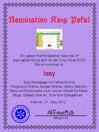 King Award Nominationsurkunde Issys Gifsammlung