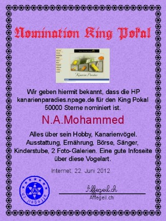 King Award Nominationsurkunde Kanarienparadies