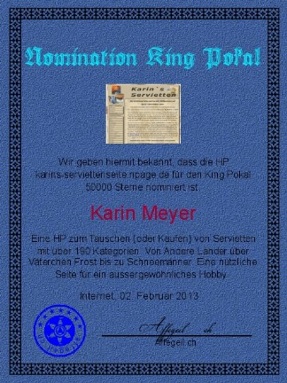King Award Nominationsurkunde Karins Serviettenseite