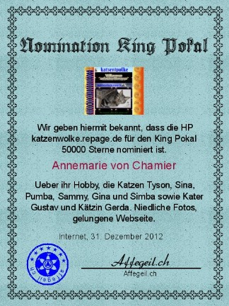 King Award Nominationsurkunde Katzenwolke