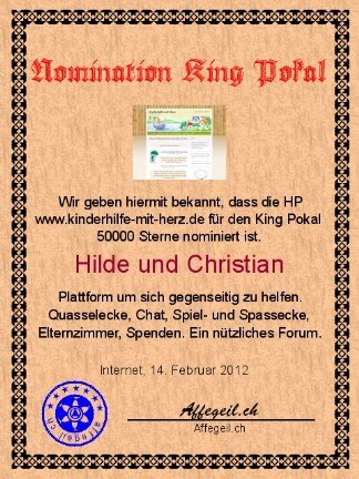 King Award Nominationsurkunde Kinderhilfe-mit-Herz