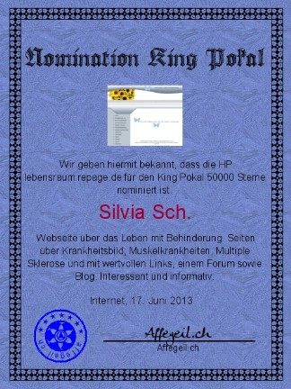 King Award Nominationsurkunde Lebensraum