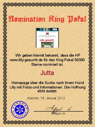 King Award Nominationsurkunde Lilly-gesucht