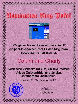 King Award Nominationsurkunde Ein paar lole Sachen