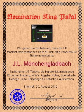 King Award Nominationsurkunde Meerschweinchenundco