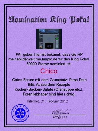 King Award Nominationsurkunde Meinebilderwelt