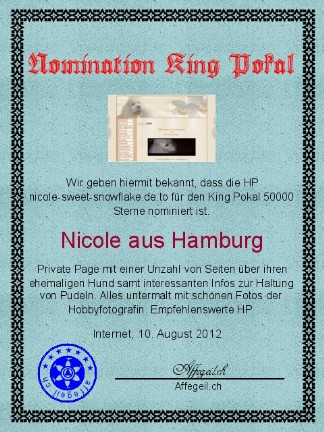 King Award Nominationsurkunde Nicole sweet snowflake