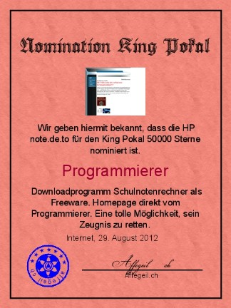 King Award Nominationsurkunde Note