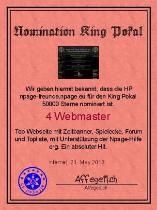 King Award Nominationsurkunde Npage Freunde