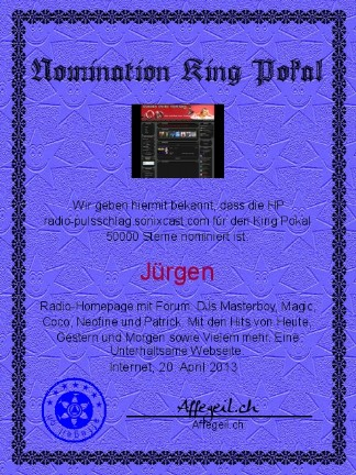 King Award Nominationsurkunde Radio Pulsschlag