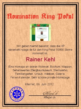 King Award Nominationsurkunde Rainer Kehl
