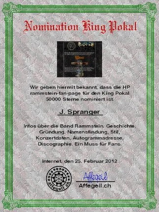 King Award Nominationsurkunde Rammstein-Fan-Page