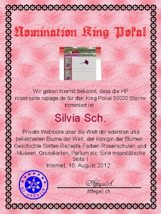 King Award Nominationsurkunde Rosenseite