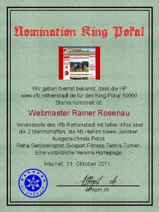 King Award Nominationsurkunde VFB.Rothenstadt