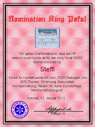 King Award Nominationsurkunde Rund-um-Hunde