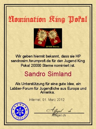 King Award Nominationsurkunde Sandrosim-Forumprofi
