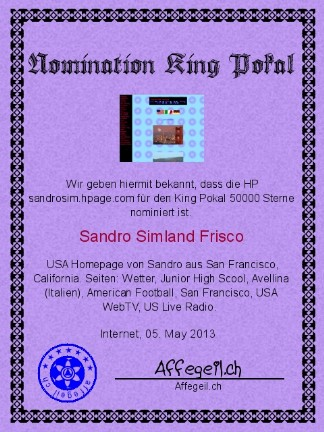 King Award Nominationsurkunde Sandrosim