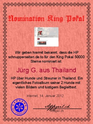 King Award Nominationsurkunde Schnupperseiten
