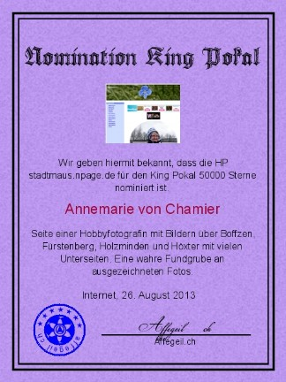 King Award Nominationsurkunde Stadtmaus