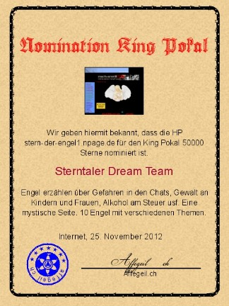 King Award Nominationsurkunde Stern der Engel