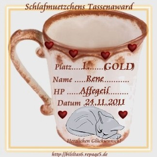 Schlafmuetzchens Tassenwaward in Gold
