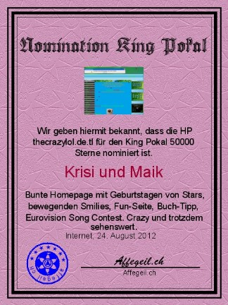 King Award Nominationsurkunde The Crazy Lol
