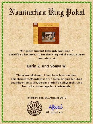 King Award Nominationsurkunde Tierhilfe-Spikyranch