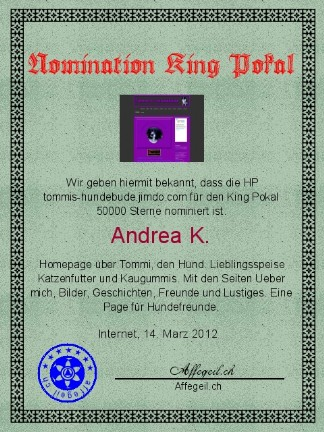 King Award Nominationsurkunde Tommis-Hundebude
